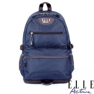 【ELLE active】格紋系列-後背包-中-深藍色