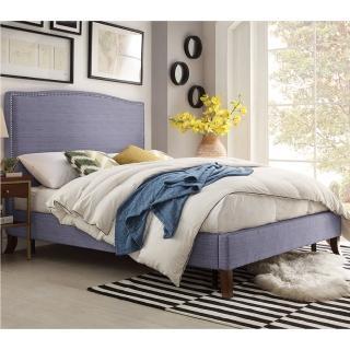 【FL 滿屋生活】FL Lavender blue 混織慵藍-5尺鉚釘實木高背床架(實木床架/高背床架/鉚釘設計/經典款型)