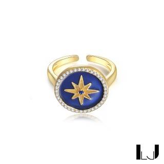 【Little Joys】旅美原創設計 六芒星羅盤925銀鍍金戒指(寶石藍)