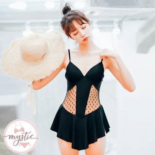 【mystic 神秘者】女泳裝 連身 網紗透視連身裙泳衣(黑色/焦糖色)