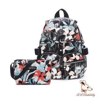 【冰山袋鼠】楓糖瑪芝-經典大容量插袋後背包+側背小包2件組-熱帶雨林(0015+001)
