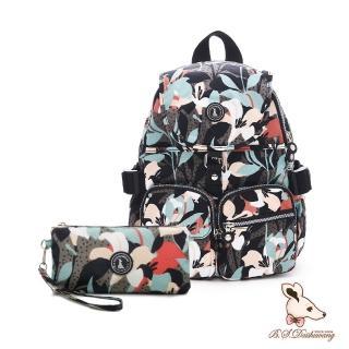【冰山袋鼠】楓糖瑪芝-經典大容量插袋後背包+零錢包2件組-熱帶雨林(0015)