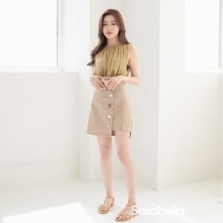 【sasa bella 莎莎貝拉】低調奢華鈕扣短裙(短裙)