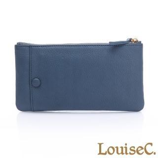【LouiseC.】植鞣牛皮 拉鍊長夾/手拿包 可拆式卡片夾-海洋藍(HGSB710528-09)