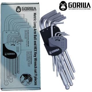【GORILLA 紳士質人手工具】超9in1精密耐用六角球頭扳手組(9pcs公制六角扳手組)