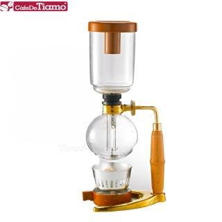 【Tiamo】TCA-3 虹吸式咖啡壺-金色-附酒精燈3杯份(HG2374)