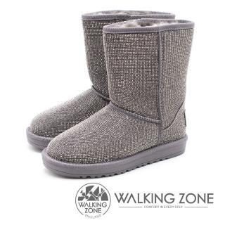 【WALKING ZONE】滿版水鑽內鋪毛雪靴 女(灰)