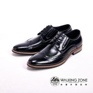 【WALKING ZONE】工藝車縫木頭跟綁帶男皮鞋(黑)