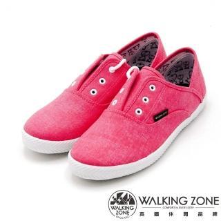 【WALKING ZONE】果漾YOUNG純棉帆布鞋休閒鞋 女鞋(粉)