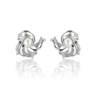 【大東山珠寶】燦若繁星 日本AKOYA天然海水珍珠純銀晶鑽耳環(日本AKOYA珍珠)