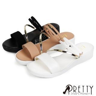 【Pretty】仿金屬線條感兩穿式厚底涼拖鞋(粉紅、白色、黑色)