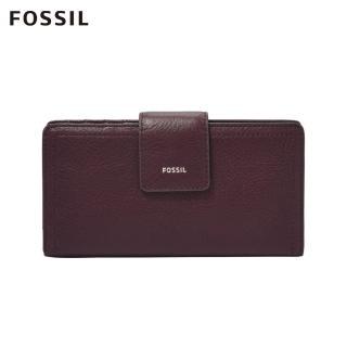 【FOSSIL】LOGAN 無花果紫紅色真皮RFID中長夾SL7927503