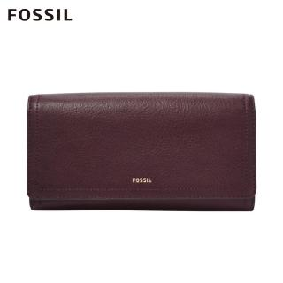 【FOSSIL】LOGAN 無花果紫紅色三折真皮拉鍊RFID長夾SL7929503