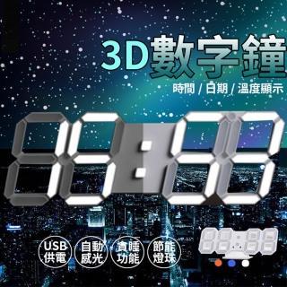 【AKLIFE】工業風立體LED數字電子鐘 3D時鐘(可壁掛科技電子鐘 掛鐘)