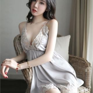 【Secret Lover】性感純色蕾絲裙襬睡裙套組_灰色SL55