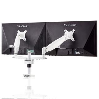 【aka】雙螢幕氣壓伸縮支架組--白色(電腦/液晶/螢幕架/筆電架/伸縮架)