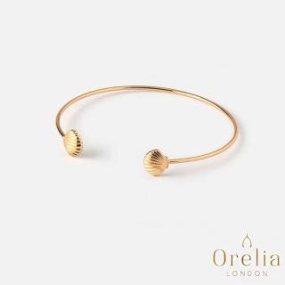 【Orelia】英國雅致品牌 Open Shell Bangle 陽光貝殼鍍金開口手環