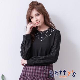 【betty's 貝蒂思】領口珠飾蕾絲雪紡上衣(黑色)