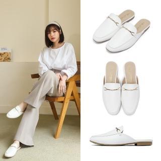 【FUFA Shoes 富發牌】英倫時尚馬銜扣平底穆勒鞋-白  1PE66