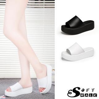 【SOFT WALK 舒步】真皮經典一字鞋面鬆糕厚底拖鞋(2色任選)