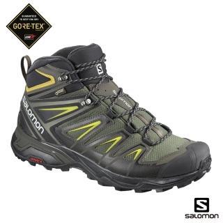 【salomon】中筒登山鞋 GORETEX 防水 男 X ULTRA 3 WIDE 寬楦(灰綠/黑/硫綠)