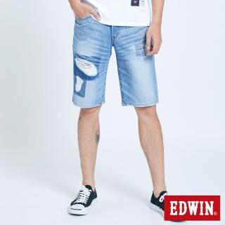 【EDWIN】破壞五袋牛仔短褲-男款(石洗藍)