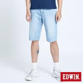 【EDWIN】仿舊五袋牛仔短褲-男款(漂淺藍)