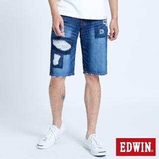 【EDWIN】破壞五袋牛仔短褲-男款(中古藍)