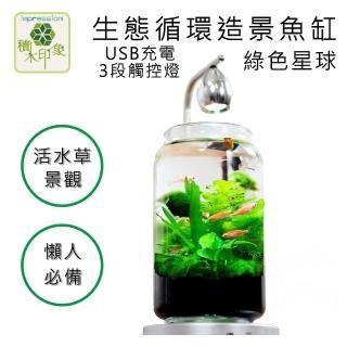 【積木印象】活水草生態紓壓懶人魚缸 生態瓶造景系列(綠色星球 USB充電式三段觸控燈款)