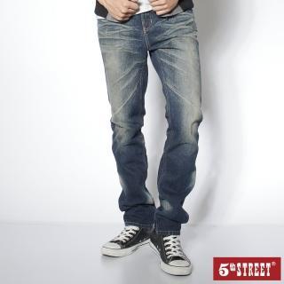 【5th STREET】男街霸直筒褲-酵洗藍
