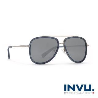 【INVU】瑞士時尚潮流飛行員偏光太陽眼鏡-亞洲限定款(銀邊灰藍-Z1901B-12HR)