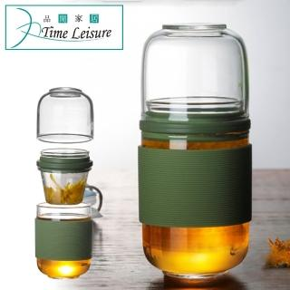 【Time Leisure】中式茶葉花果茶便攜耐熱玻璃旅行辦公隨行杯