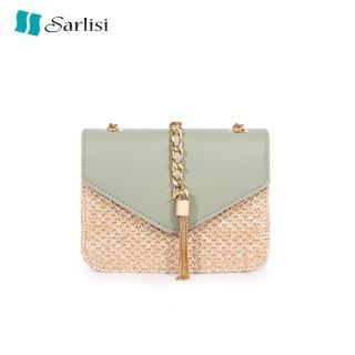【Sarlisi】夏麗絲新款韓版百搭流蘇小方包鏈帶包側肩斜背包草編包(小包款)