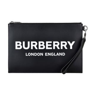 【BURBERRY 巴寶莉】BURBERRY白字LOGO牛皮6卡拉鍊掛腕手拿包(黑)