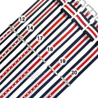 【Watchband】12.14.17.18.19.20 mm / DW 各品牌通用 不鏽鋼扣頭 尼龍錶帶(藍x白x紅)