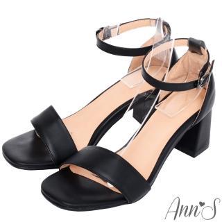 【Ann'S】不踩雷美腿製造機一字帶涼鞋-寬帶6公分中跟(黑)