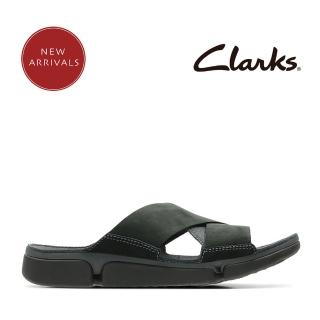 【Clarks】Clarks 盛夏瓣履 王牌三瓣舒適異材質拼接三片式交叉設計拖鞋(黑色)