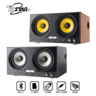 【T.C.STAR】可插卡/USB/雙麥克風多功能藍牙木箱喇叭(TCS3101)
