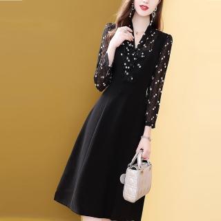 【FQ 時尚天后】黑波點白方格假兩件背心裙洋裝(S-2XL)