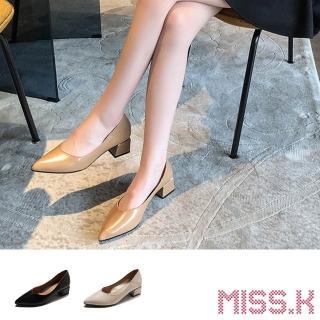 【MISS.K】尖頭V口百搭質感粗跟鞋(3色任選)