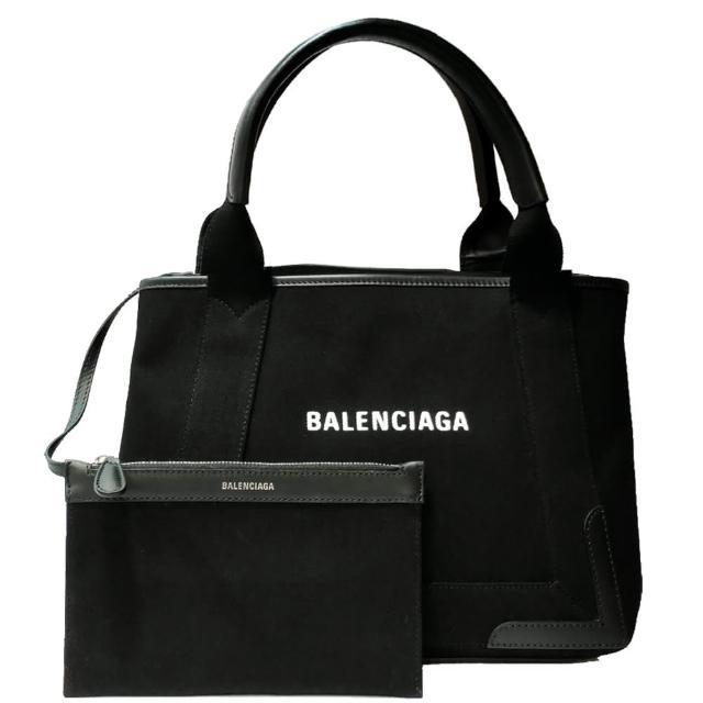 【Balenciaga 巴黎世家】339933 NAVY系列帆布X牛皮飾邊手提托特包(黑色-S)