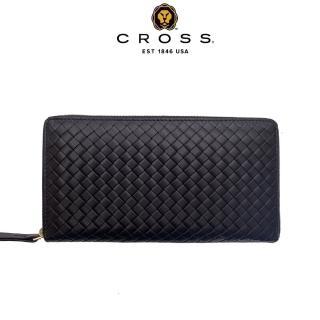 【CROSS】限量1.5折 頂級編織紋NAPPA小牛皮拉鍊長夾阿梅爾系列 福利品特價(99%新 專櫃展示品 黑色)