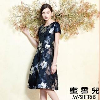 【mysheros 蜜雪兒】復古渲染花造型洋裝(藍)