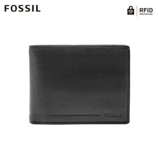 【FOSSIL】Allen 真皮證件格零錢袋RFID皮夾-黑色  SML1548001
