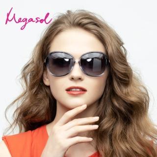 【MEGASOL】UV400防眩偏光太陽眼鏡時尚女仕大框矩方框墨鏡(精緻水鑽氣派箭頭鏡架1906-5色選)