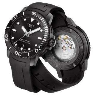【TISSOT 天梭】Seastar 1000海洋之星300米潛水機械錶-43mm/黑(T1204073705100)