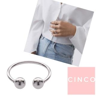 【CINCO】葡萄牙精品 CINCO Hit ring 925純銀戒指 雙圓球C型戒指(925純銀)