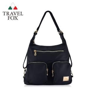 【TRAVEL FOX 旅狐】多層口袋肩背/後背包兩用包(TB698-01 黑色)