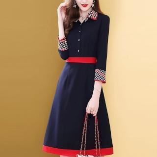 【FQ 時尚天后】藍紅腰身三色圓點翻領洋裝(S-2XL)