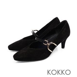【KOKKO 集團】優雅瑪莉珍羊麂皮V口D扣高跟鞋(霧黑色)